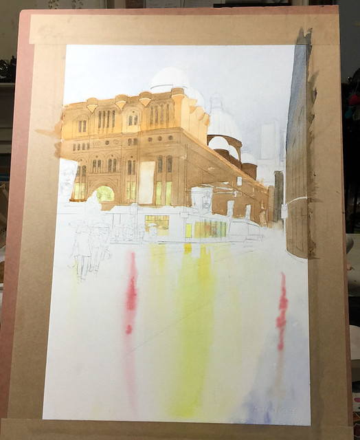 Watercolour painting of QVB by Mike Lamble  3