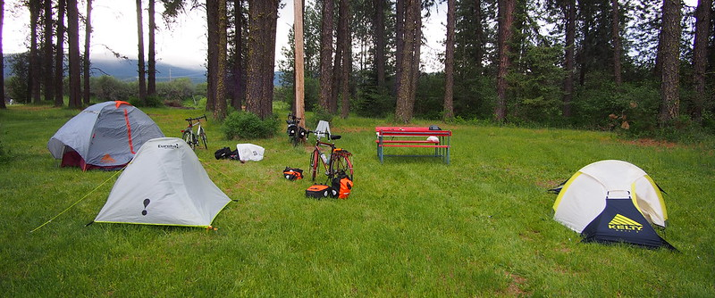 Pend Oreille County Fairground R/V Park: Kyle and I tried hard to find the campground on his map.  He really didn't want to backtrack a few miles to Usk or Cusick, but after it seemed hopeless without a single bit of signage, he gave up.  We later found some signage, and there weren't any USFS campgrounds within 8 miles of Usk, so it seemed like the right choice.  Alex ended up joining us at this campground, much to my surprise.  It also poured down rain for much of the night and part of the next morning.