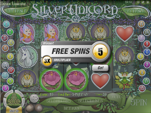 free Silver Unicorn slot free spins