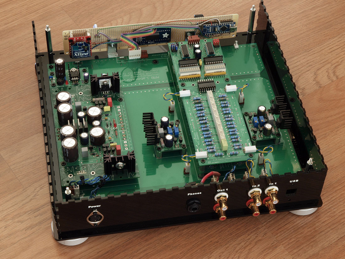 Diy Audio Preamp With Arduino Xbee And Alpha Led Display