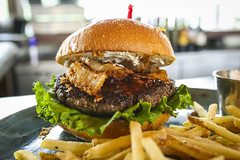 Burger w/ Jalapeno Bacon Cream Cheese, Onion Rings…