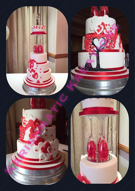 4 Tier Hearts Cake by Becky Watkins of Karishmatickreations