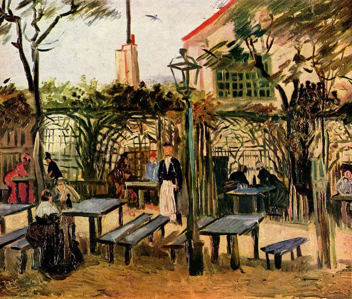 La Guinguette, an outdoor cafe in Montmartre by Vincent van Gogh, 1886