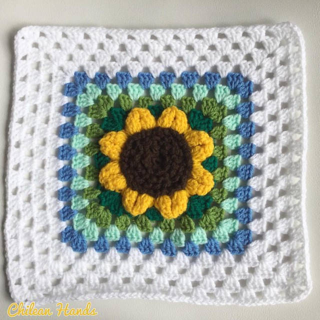 Not an ordinary granny!! It took me all day yesterday but I'm finally happy with this giant sunflower in a granny.  I can't wait to block it with the rest of them :) #granny #grannysquare #notsoordinary #handmadewithlove #crochet #crochetaddict #crochetin