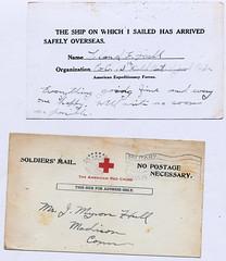 WWI Safe Arrival in France Notice