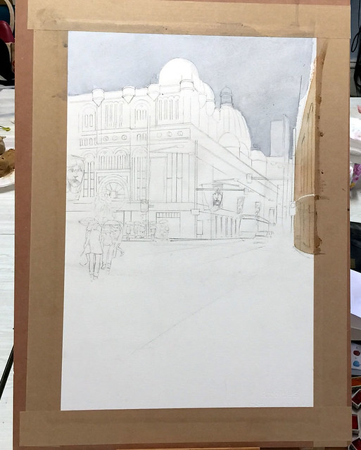 Watercolour painting of QVB by Mike Lamble 1