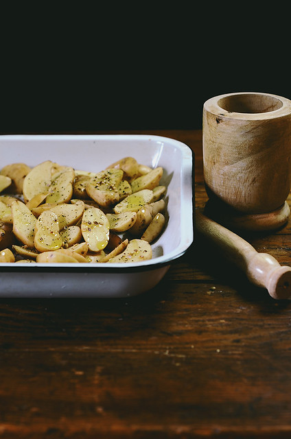 Coriander Roasted Fingerling Potato Salad with Avocado | A Brown Table