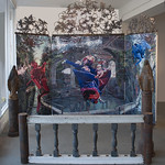 Melissa Furness and Rian Kerrane; The Other; Double-sided painting triptych with metal frame and arches of cast iron and steel, Mary on pillar cast iron on iron pillars, altar railing cast iron, steel, wood; 2014 -