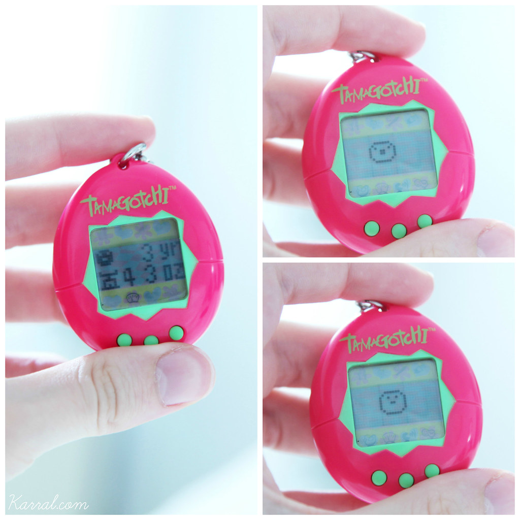 neon pink & green Tamagotchi V1 in baby child Marutchi stage - Day 03 - stats and sprite / vintage European version from 1997
