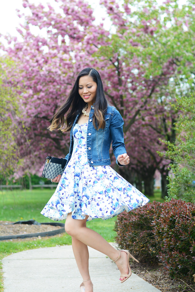 blue floral print strapless bandeau fit and flare dress spring outfit with denim jacket