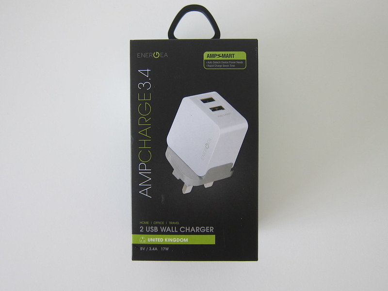 Energea Amp Charger 17W 5V/3.4A 2-Port Wall Charger - Box Front