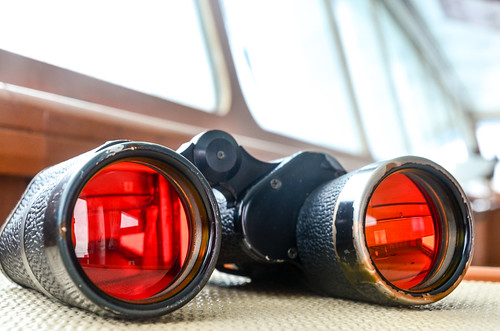 Binoculars from the ship bridge