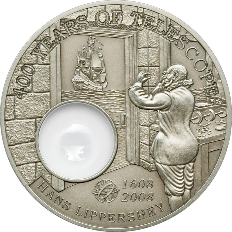 400 years telescope silver coin, Palau