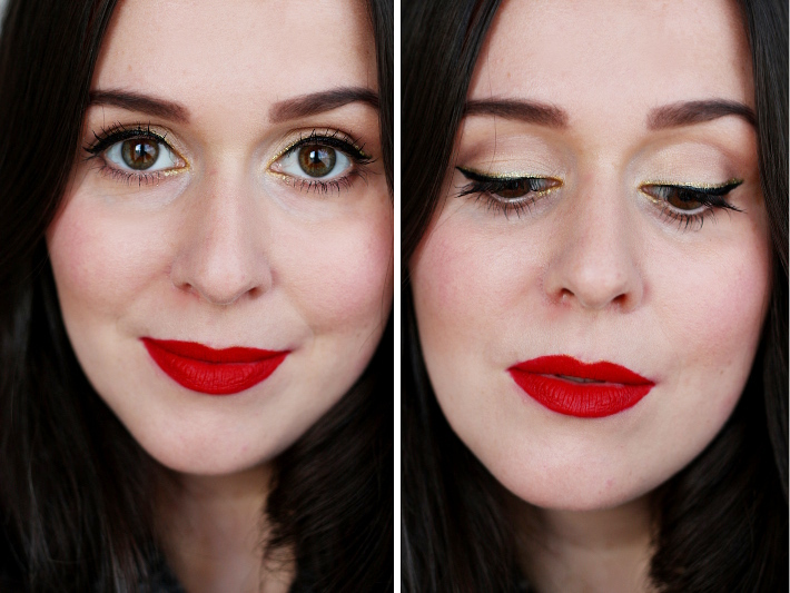 gold eyeliner tutorial matte red lips