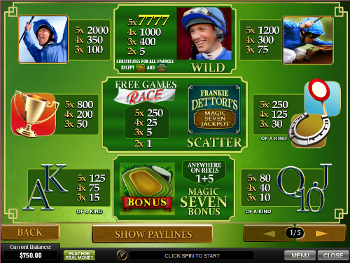 free Frankie Dettori's Magic Seven Jackpot slot paytable