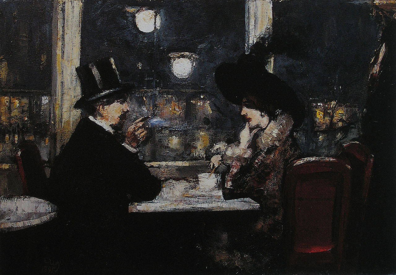 In Café Bauer by Lesser Ury, 1895