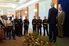 U.S. Secretary of State John Kerry salutes members of the Marine Security Guard detachment as he addressed employees and family members from U.S. Embassy Sri Lanka on May 3, 2015, in Colombo, Sri Lanka. [State Department Photo/Public Domain]