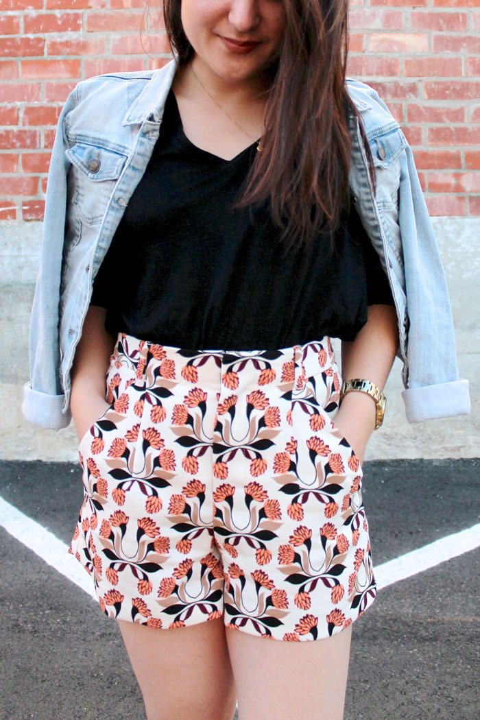 denim jacket and printed shorts