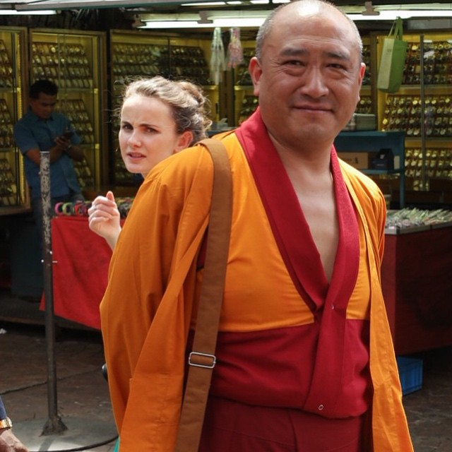 A very nice Buddhist monk is posing for my picture. But @erin_goodall1 why don't you smile?