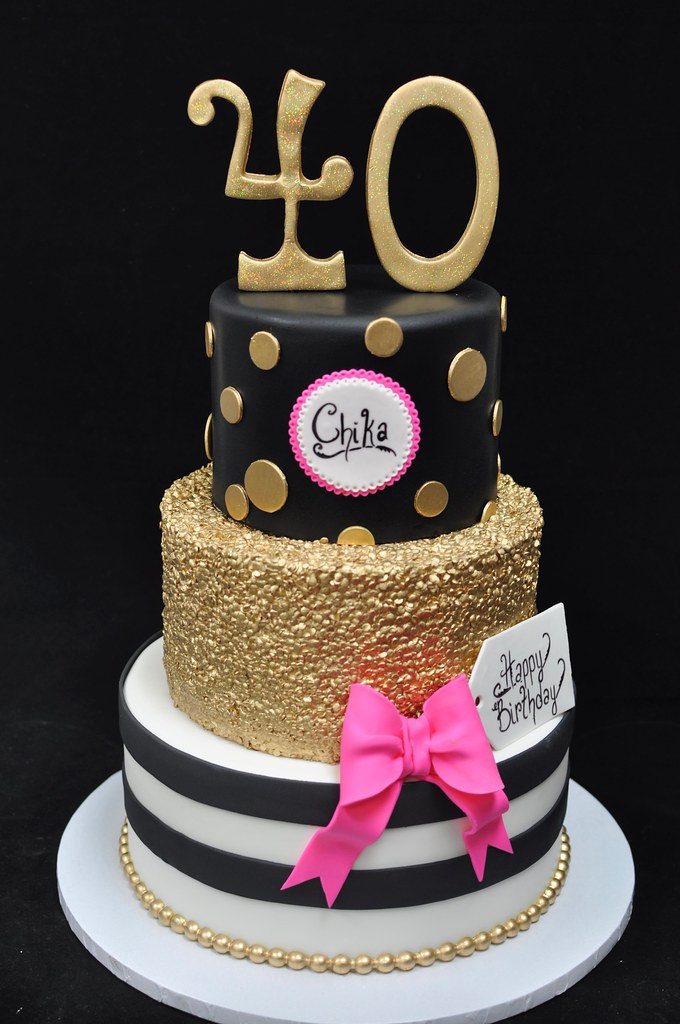 Gold And Pink 40th Birthday Cake