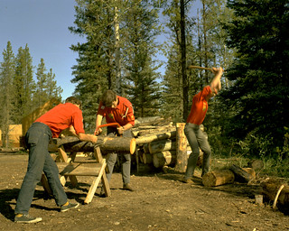 Chopping wood, Blue Lake, Alberta