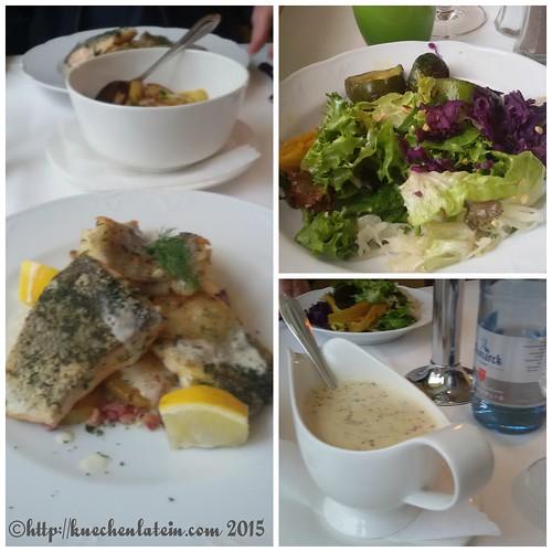 ©Pannfisch (Leng, Lachs und Zander) mit Dijonsenfsauce, Bratkartoffeln und Salat