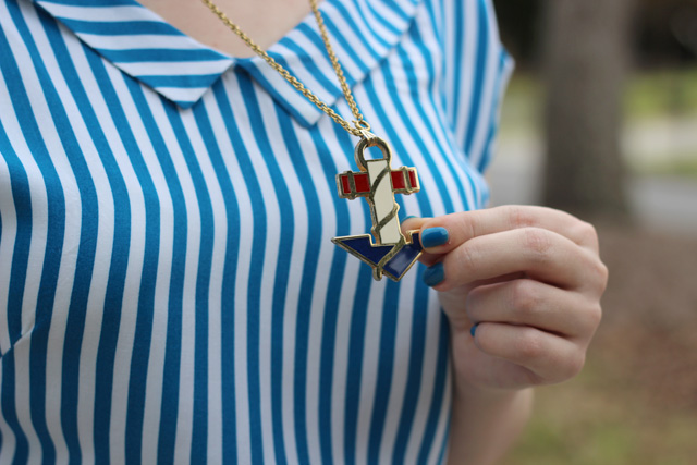 Retro Nautical Anchor Necklace and a Striped Shirt