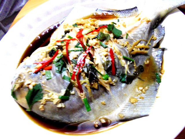 Steamed white pomfret