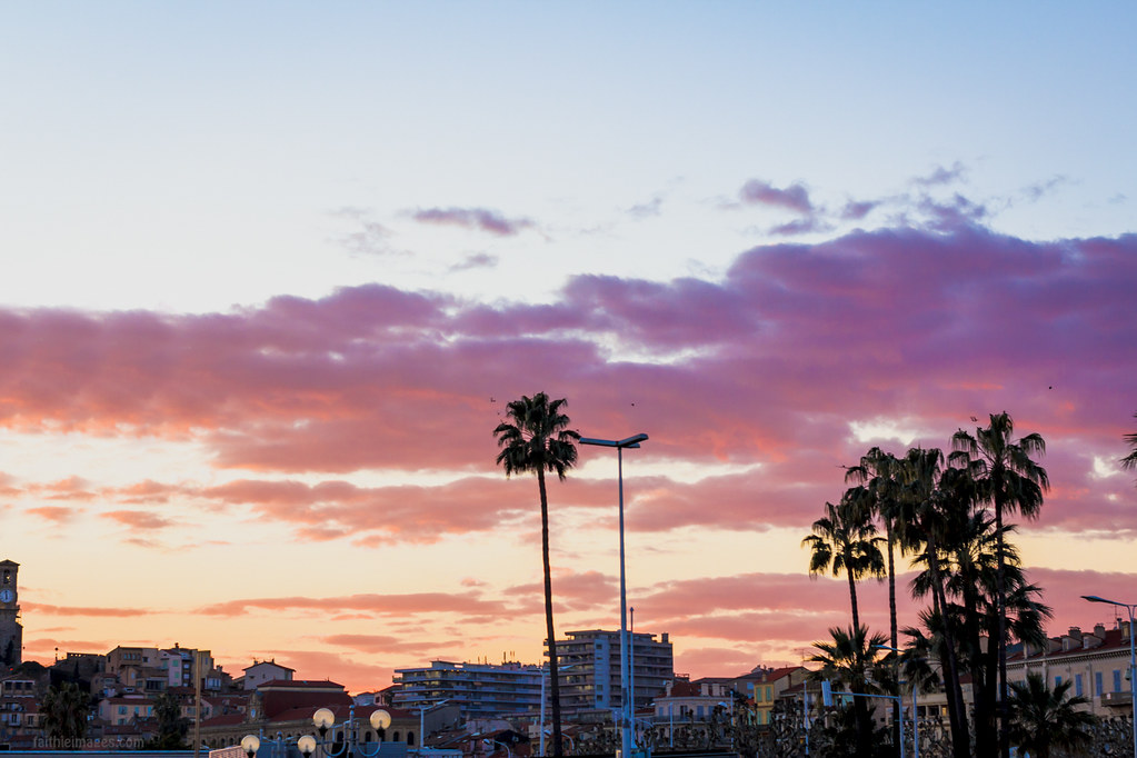 Pink sunset above the Suquet and Pantiero in Cannes, French Riviera