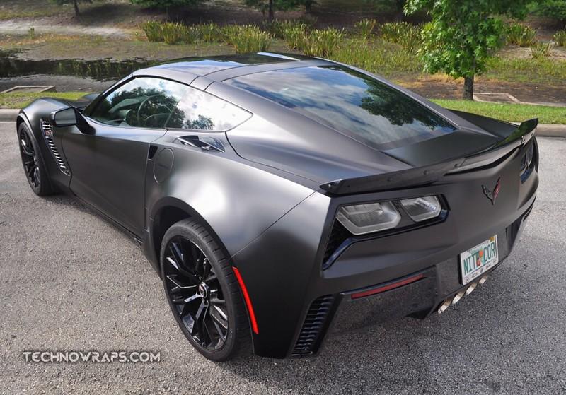 Chevrolet Corvette wrapped in Satin Black Avery Dennison vinyl