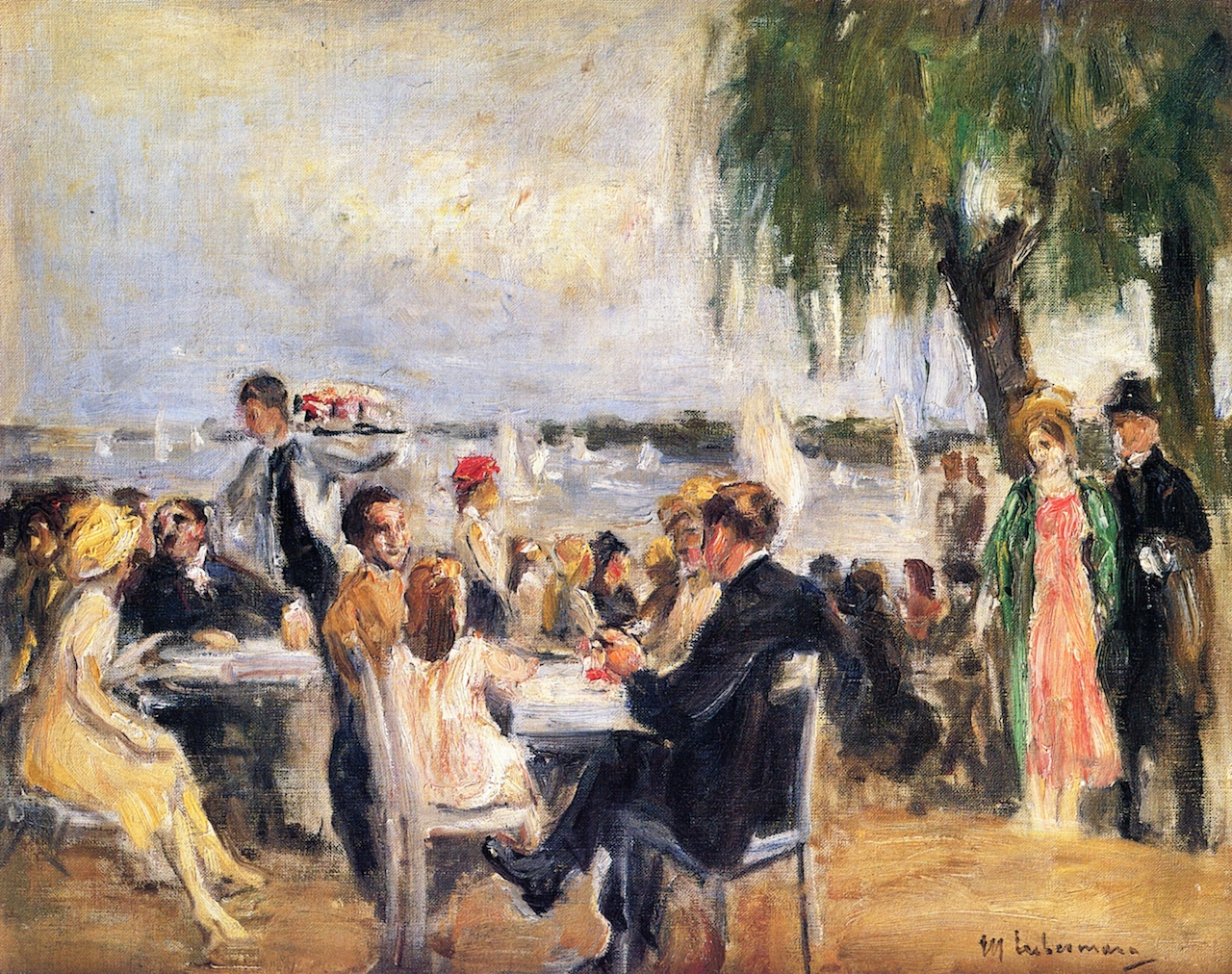 Garden Cafe on the River Elbe by Max Liebermann - circa 1922