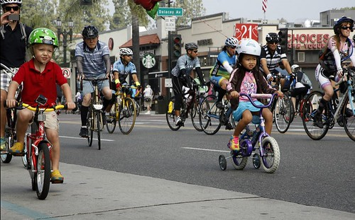 Bicyclists ride down Colorado Boulevard in Pasadena during CicLAvia