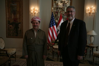 David Addington and KRG President Massoud Barzani in Irbil, Iraq