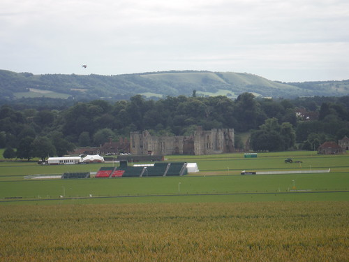Cowdray House ruin, Polo Field and South Downs
