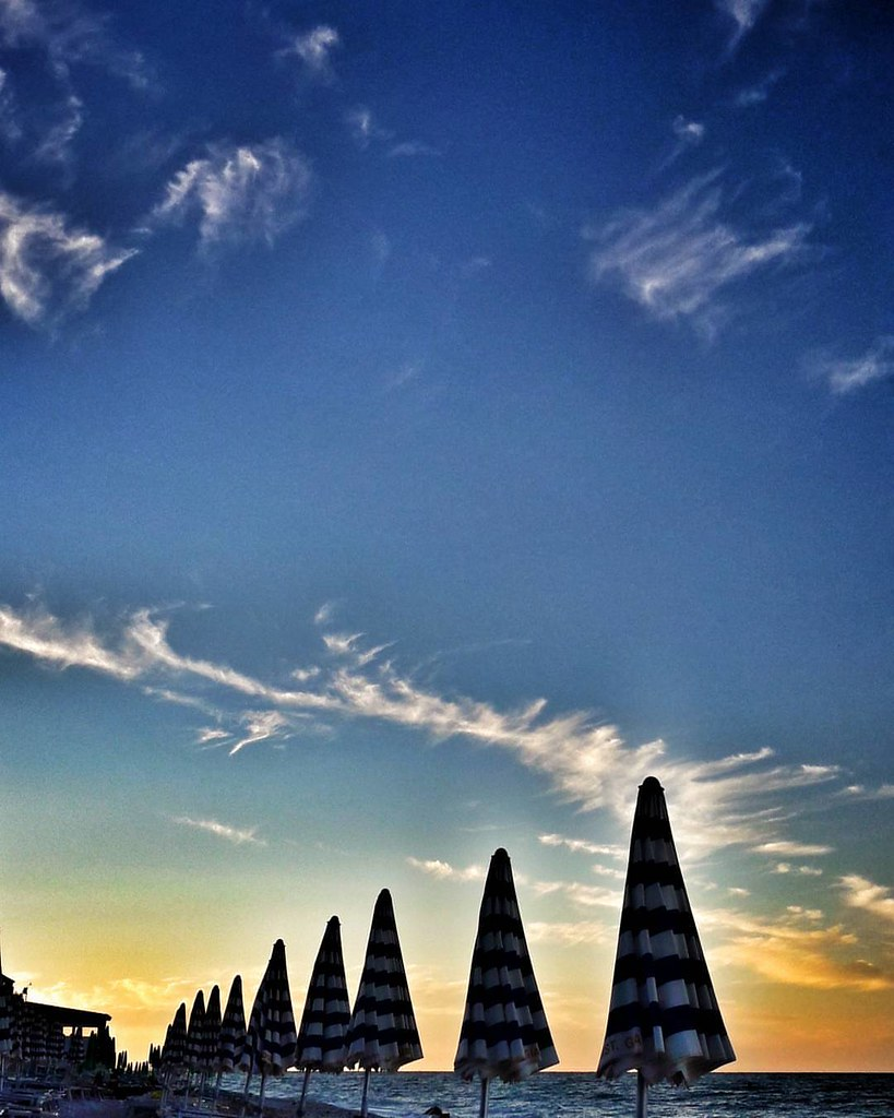 Sunset At The Beach   #summertime #sky #clouds #Summer #summer2016 #beach #sea #igers #igersitalia #Photography #photooftheday #picoftheday #blue #Sunset #life #Portonovo #conero #Italy #Travelgram