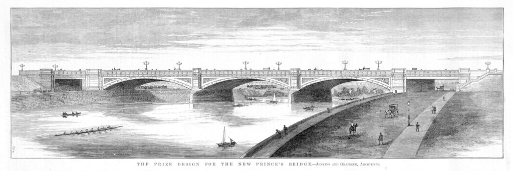 The prize design for the new Prince's Bridge, Melbourne, VIC. Jenkins and Grainger, architects. State Library of Victoria
