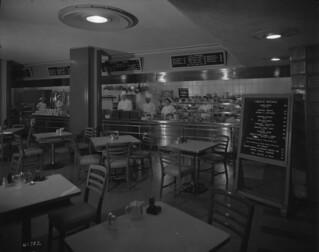 Vancouver Hotel - basement cafeteria with menu and prices / Cafétéria de l'hôtel Vancouver (au sous-sol), avec menu et liste de prix