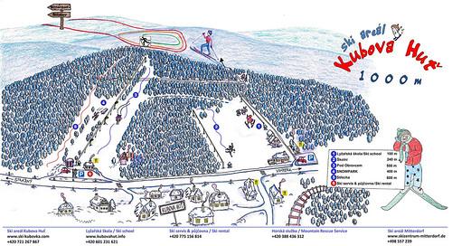 Kubova Huť - mapa sjezdovek
