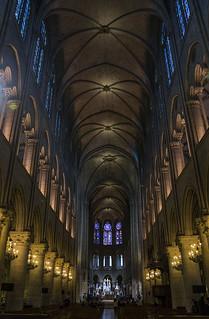 Image of Cathedral of Notre Dame de Paris near Paris. paris france church cathedral interior gothic catedral iglesia inside notre dame francia gotico